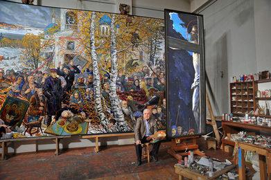 И.С. Глазунов в мастерской после завершения картины «Раскулачивание»