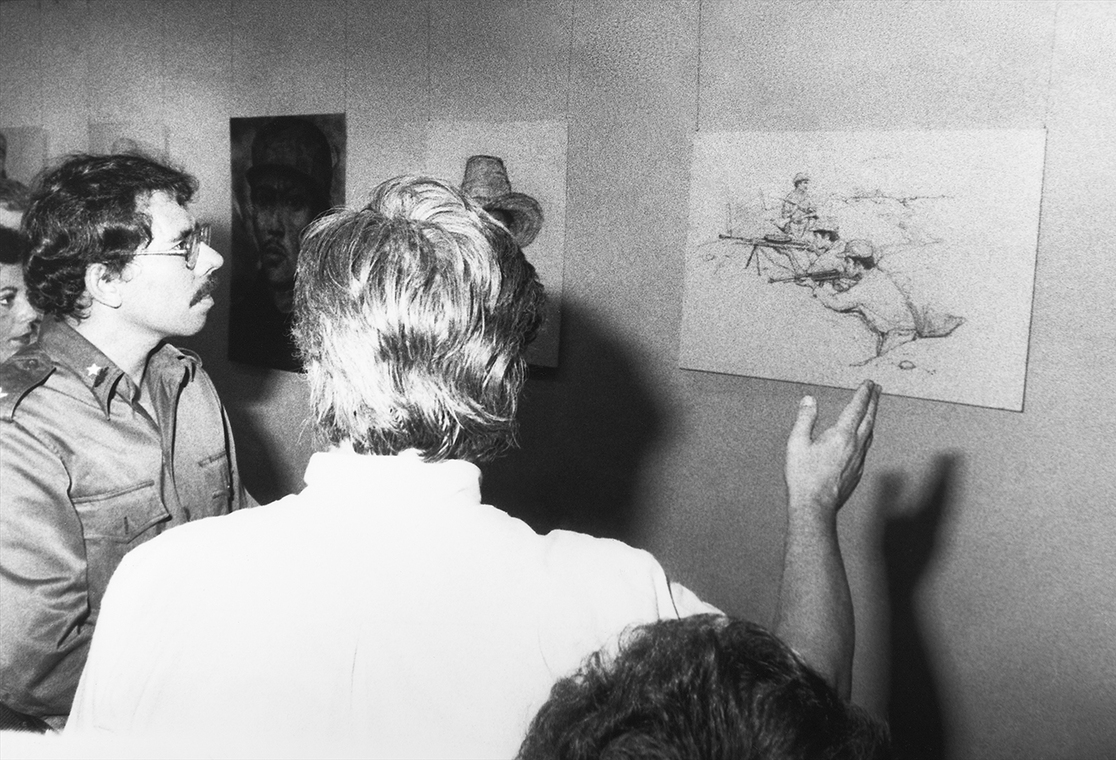 И.С. Глазунов и Даниэль Ортега на выставке русского художника