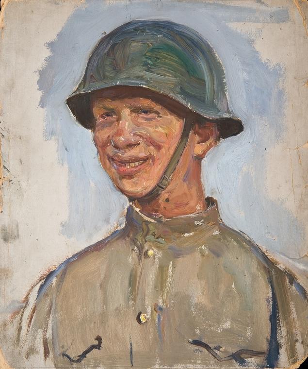 Солдат в каске