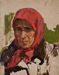 Старуха в красном платке