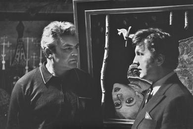 И.С. Глазунов с режиссером С.Ф. Бондарчуком в мастерской художника