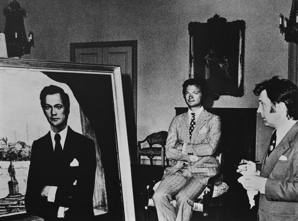 Илья Глазунов за работой над портретом короля Швеции Карла XVI Густава