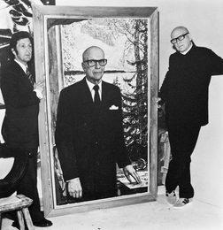 Илья Глазунов работает над портретом Президента Финляндии Урхо Калева Кекконена