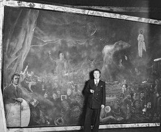 Илья Глазунов у картины «Мистерия ХХ века»