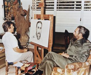 Илья Глазунов пишет портрет Фиделя Кастро