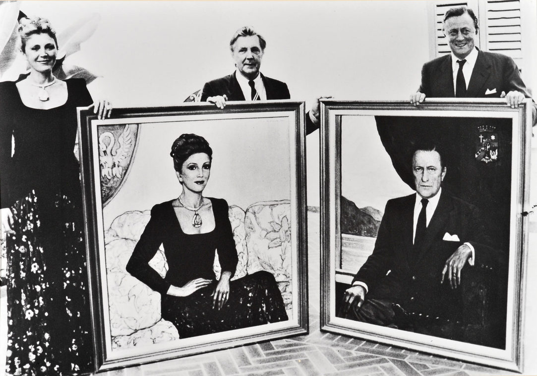 Илья Глазунов с бароном Хайнсом Хайнрихом и баронессой Кармен Тиссен Борнемисс