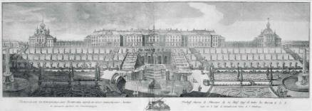 Панорама Большого Петергофского дворца. Санкт-Петербург