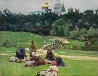 В.В.Лебедев (1891-1967). Паломники у стен Новоиерусалимского монастыря. Начало XX века