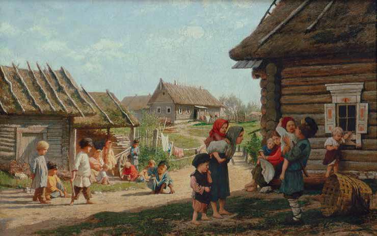 Неизвестный художник. В русской деревне. Вторая половина XIX века