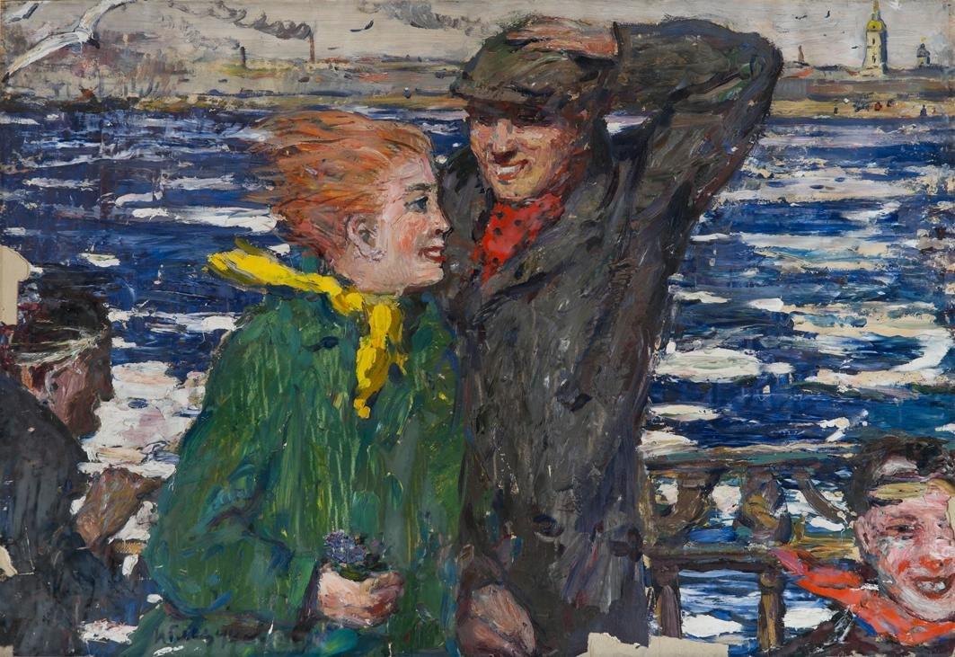 """""""Весенняя Нева"""", 1955. Бумага, масло. 60.2 х 88.6 см."""