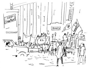 Манифестация на улице Сантьяго